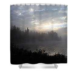 Misty Dawn On Boot Lake Shower Curtain by Larry Ricker