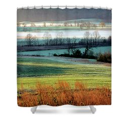 Misty Morning At Cades Cove Shower Curtain by Dave Mills