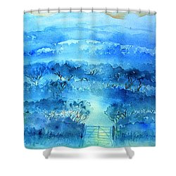 Shower Curtain featuring the painting Misty Morning  Ireland  by Trudi Doyle