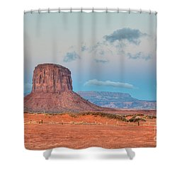 Mitchell Butte In Monument Valley Shower Curtain by Clarence Holmes