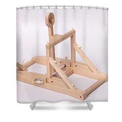 Model Catapult Shower Curtain by Ted Kinsman