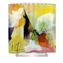 Modern Art With Yellow Black Red And Fanciful Clouds Shower Curtain