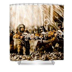 Modern Battle Field Shower Curtain by Marc Garrido