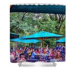Modern Boating Party Crowd At Central Park In New York City Shower Curtain