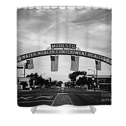 Modesto Arch With Flags Shower Curtain