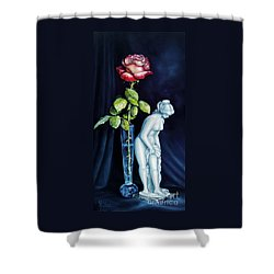Moms Rose Dads Statue Shower Curtain by Gilee Barton