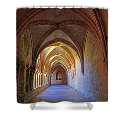 Shower Curtain featuring the photograph Monastery Passageway by Dave Mills