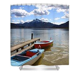 Mondsee Lake Boats Shower Curtain by Lauri Novak