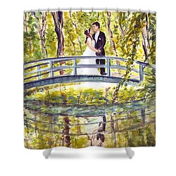 Shower Curtain featuring the painting Monet Wedding by Clara Sue Beym