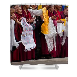 Shower Curtain featuring the photograph Monks Wait For The Dalai Lama by Don Schwartz