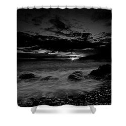 Monochrome Sunset  Shower Curtain