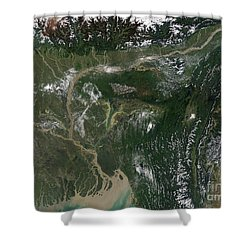 Monsoon Floods Shower Curtain by NASA / Science Source
