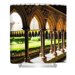 Mont Saint Michel Cloister Shower Curtain by Elena Elisseeva