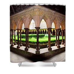 Mont Saint Michel Cloister Garden Shower Curtain by Elena Elisseeva