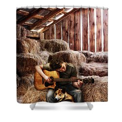 Montana Boy Shower Curtain by Shawna Mac