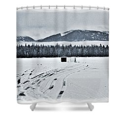 Shower Curtain featuring the photograph Montana Ice Fishing by Janie Johnson