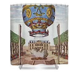 Montgolfier Hot Air Balloon Shower Curtain by Science Source