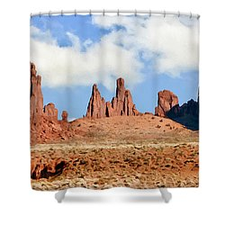Monument Valley Totem Pole Shower Curtain by Bob and Nadine Johnston