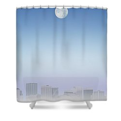 Moon Over Buildings Shower Curtain by Kelly Redinger