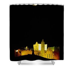 Moon Over Rock Of Cashel, Co Tipperary Shower Curtain by The Irish Image Collection