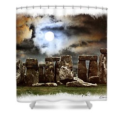 Moon Over Stonehenge Shower Curtain