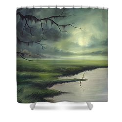 Moon Over Wadmalaw Island  Shower Curtain by James Christopher Hill