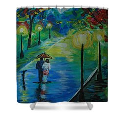 Shower Curtain featuring the painting Moonlight Stroll Series 1 by Leslie Allen