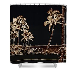 Moonlit Palms Shower Curtain by Rene Triay Photography
