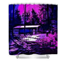 Moonlit Winter Night In The Poconos Shower Curtain by George Pedro