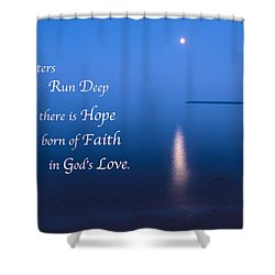 Moonrise On Lake Superior With Quote Shower Curtain