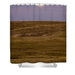 Moonrise Over Badlands South Dakota Shower Curtain by Steve Gadomski