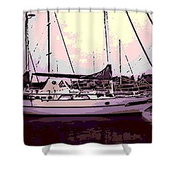 Moored Shower Curtain by George Pedro