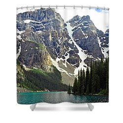 Shower Curtain featuring the photograph Moraine Lake by Lisa Phillips