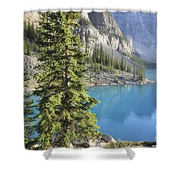 Shower Curtain featuring the photograph Moraine Lake  by Milena Boeva