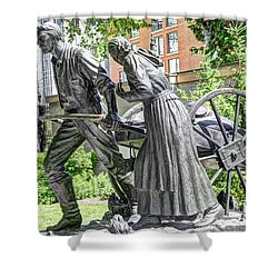 Mormon History - Hand Cart Statue Shower Curtain by Gary Whitton