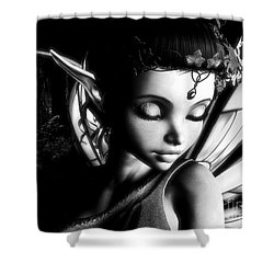 Morning Fairy Bw Shower Curtain by Alexander Butler
