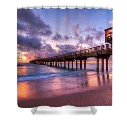 Morning Pier Shower Curtain by Debra and Dave Vanderlaan