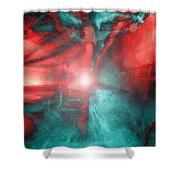 Morphing Thru Time Shower Curtain by Linda Sannuti