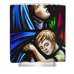 Mother And Child Stained Glass Shower Curtain by Verena Matthew