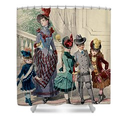 Mother And Children In Indoor Costume Shower Curtain by Jules David
