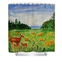 Shower Curtain featuring the painting Mother Deer And Kids by Sonali Gangane