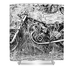 Motorcycle Graveyard Shower Curtain by Douglas Barnard