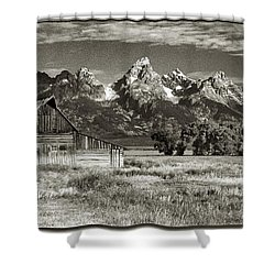 Moulton Barn And The Grand Tetons Shower Curtain by Sandra Bronstein