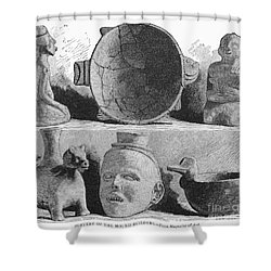 Mound Builders: Pottery Shower Curtain by Granger