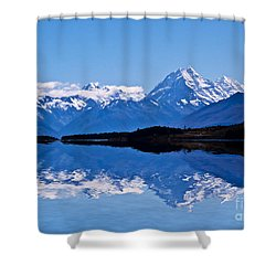 Mount Cook With Reflection Shower Curtain by Avalon Fine Art Photography