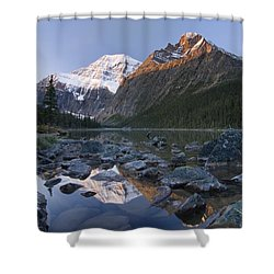 Mount Edith Cavell, Cavell Lake, Jasper Shower Curtain by Philippe Widling
