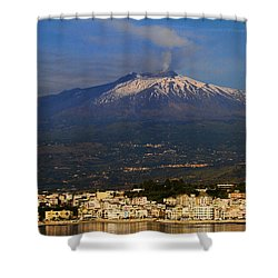 Mount Etna Shower Curtain by David Smith