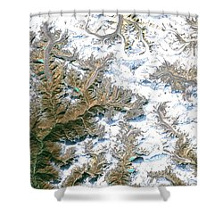 Mount Everest  Shower Curtain by Planet Observer and Photo Researchers