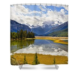 Mount Kitchener Reflected In Pond Shower Curtain by Yves Marcoux