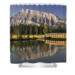 Mount Rundle And Cascade Ponds, Banff Shower Curtain by Darwin Wiggett